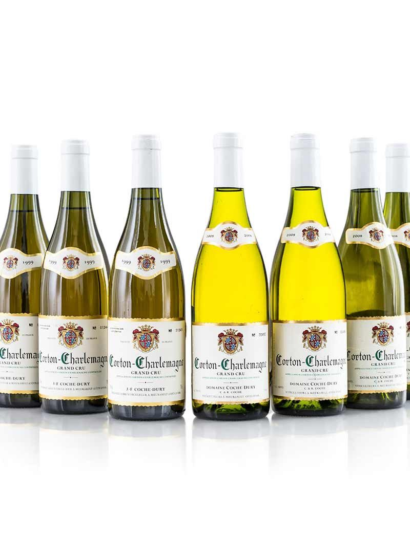 Lot 159, 160: 3 bottles of 1999 and 4 of 2008 Coche-Dury Corton Charlemagne