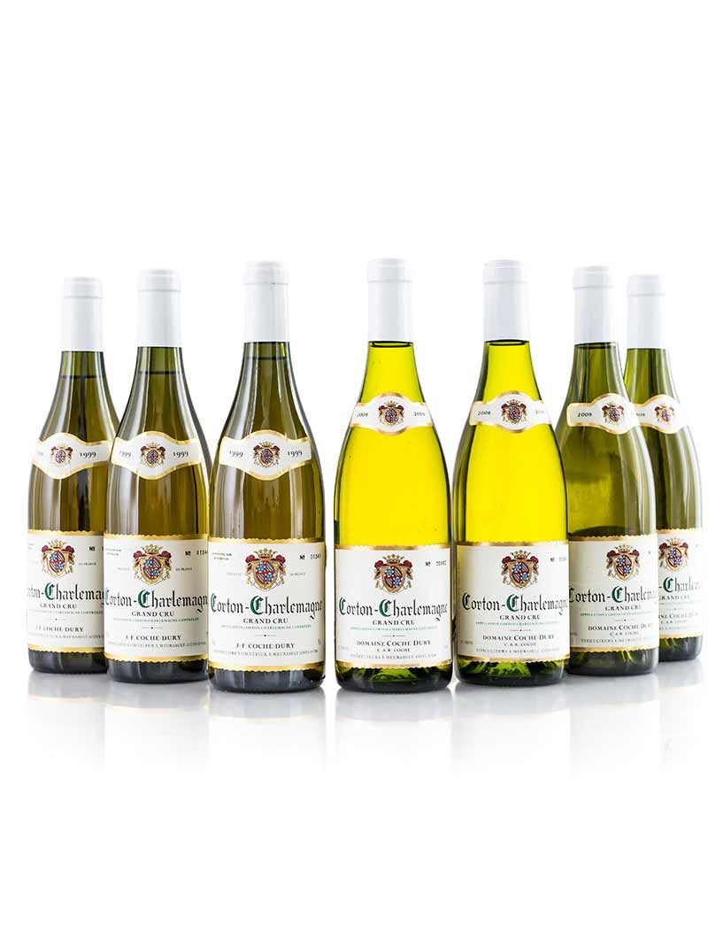 Lot 159, 160: 3 bottles 1999 & 4 of 2008 Coche-Dury Cotton Charlemagne