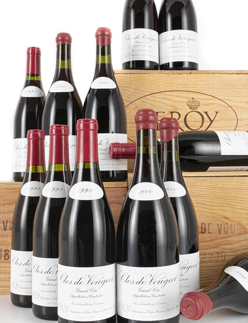 Lot 24, 25: 12 bottles each Domaine Leroy 1998 and 2000 Clos Vougeot in OWCs