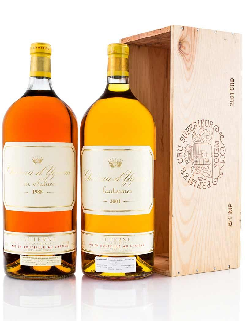 Lot 391, 396: 1 Imperial each 1988 and 2001 Chateau d'Yquem
