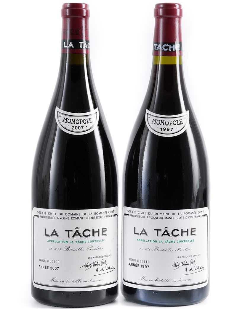 Lot 752, 756: 1 magnum each 1997 and 2007 DRC La Tache